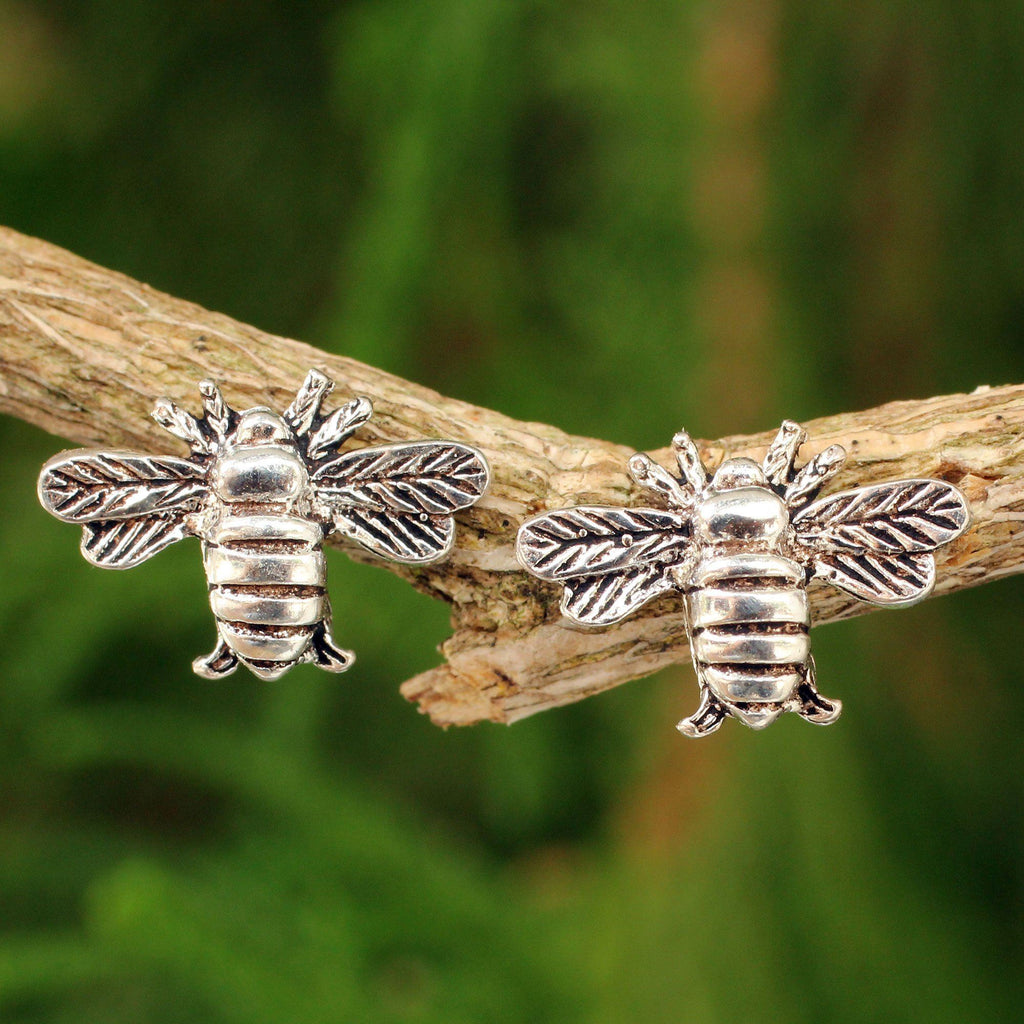 NOVICA - Sterling Silver Handmade Honeybee Earrings