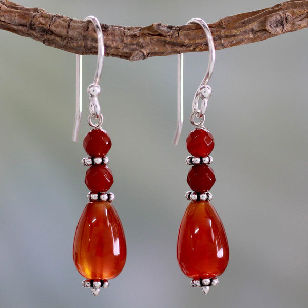 NOVICA - Sterling Silver & Carnelian Beaded Earrings