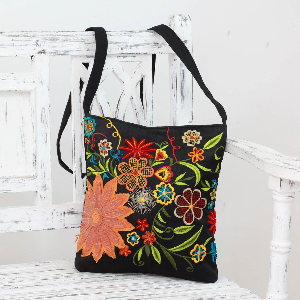 NOVICA - Flower Blossoms Handmade Shoulder Bag