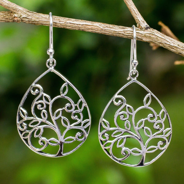 NOVICA - Tree Of Life Dangle Earrings