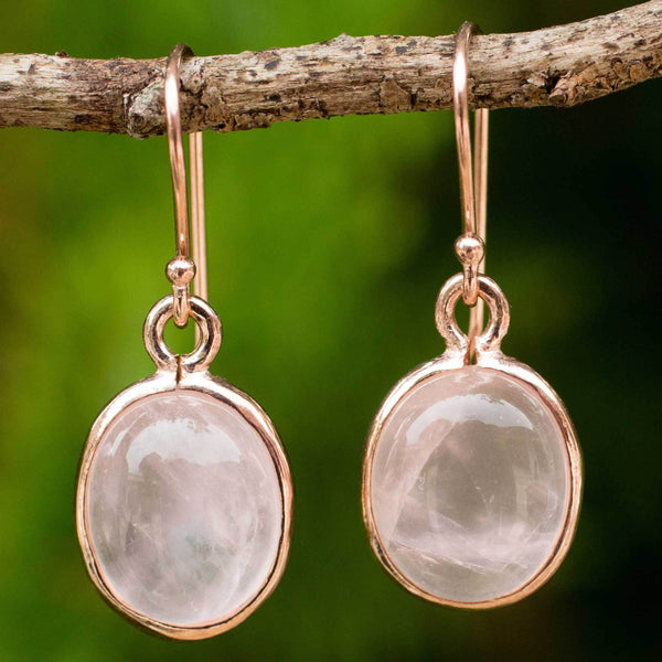 NOVICA - Sterling Silver & Rose Quartz Dangle Earrings