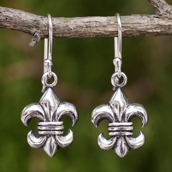 NOVICA - Sterling Silver Fleur-de-lis Dangle Earrings