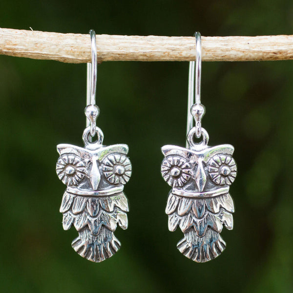 NOVICA - Owl Love Sterling Silver Dangle Earrings