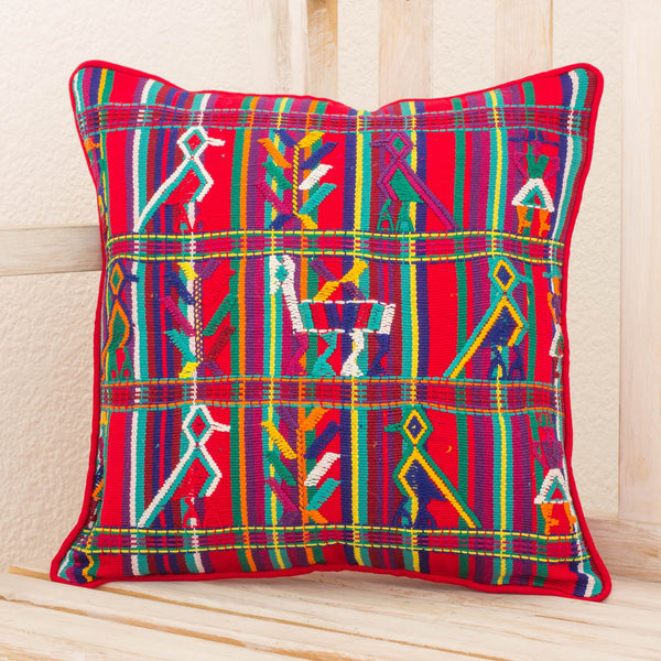 NOVICA - Red Birds Cotton Cushion Cover