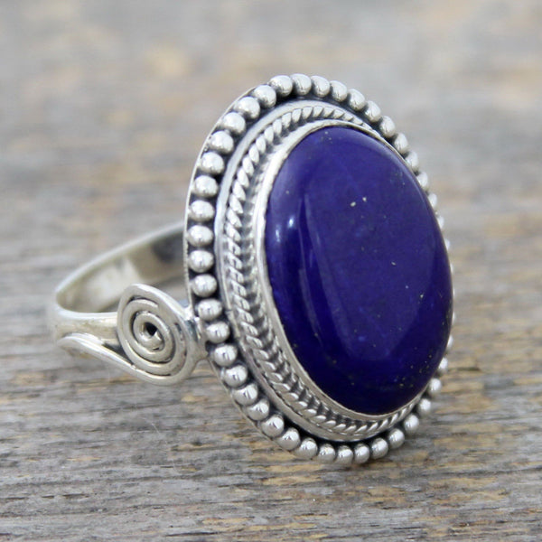 NOVICA - Lapis Lazuli & Sterling Silver Handcrafted Cocktail Ring
