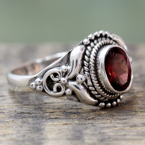 NOVICA - Handcrafted Garnet & Sterling Silver Cocktail Ring