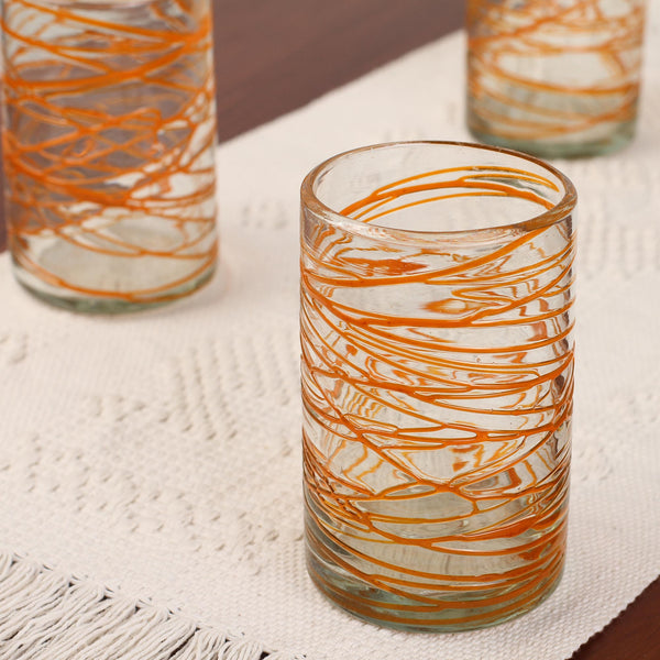 Tangerine Swirl Hand Blown Water Glass Set