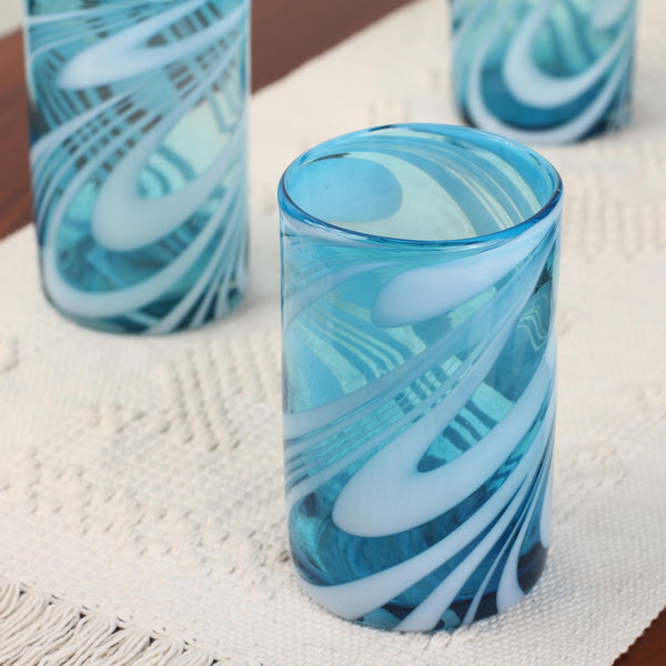 Whirling Aquamarine Hand Blown Water Glass Set