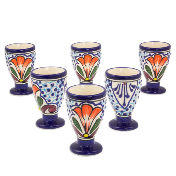 Radiant Flowers Painted Ceramic Cordial Glass Set