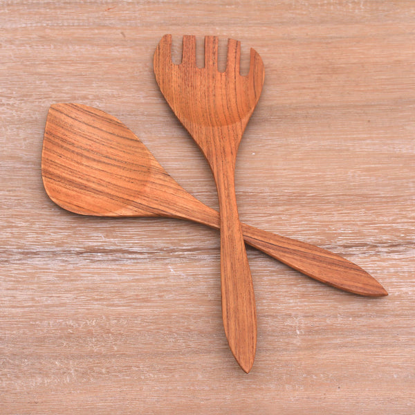 Salad Serenade Teak Wood Serving Utensils