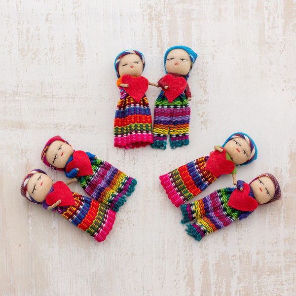 NOVICA - Joined In Love Worry Dolls With Hearts