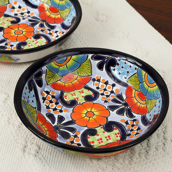 NOVICA - Raining Flowers Ceramic Bowl - Set Of 2
