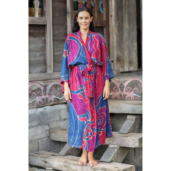 NOVICA - Red And Purple Women's Batik Long Robe, 'Exotic Blue' (One Size Fits Most)