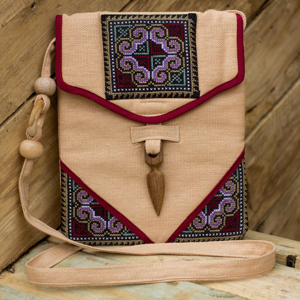 NOVICA - Handmade Hemp Shoulder Bag