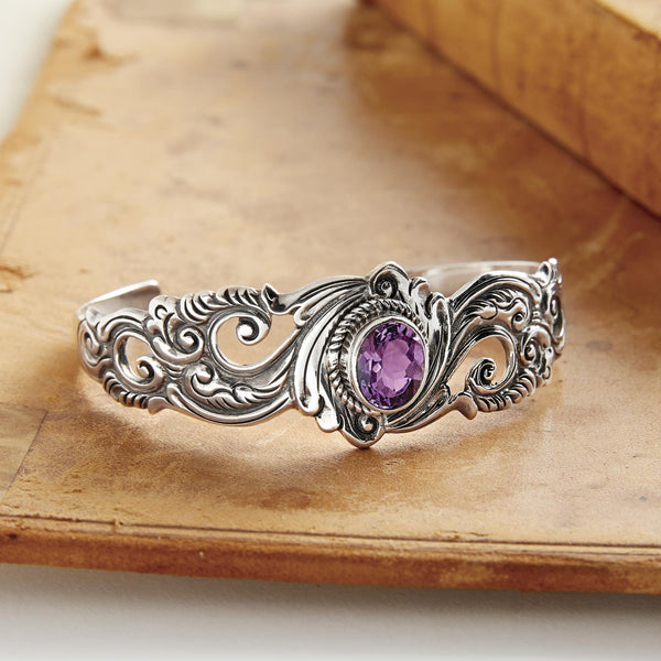 NOVICA - Amethyst & Silver Floral Paisley Cuff Bracelet
