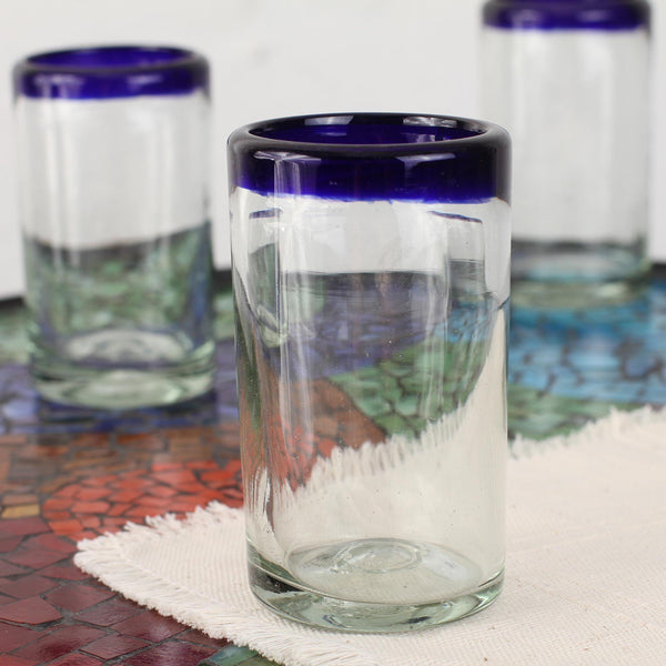 NOVICA - Artisan Crafted Hand Blown Clear Blue Rim Recycled Glass Juice Glasses, 4.3in H X 2.6in Diam. 8 Oz. 'Cobalt' (set Of 6)