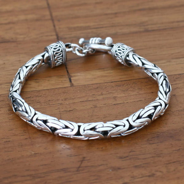 NOVICA - Men's Sterling Silver Dragon Chain Bracelet