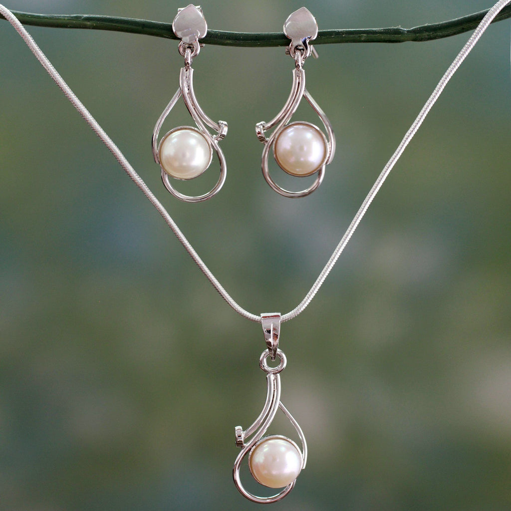 NOVICA - Pearl & Sterling Silver Bridal Jewelry Set
