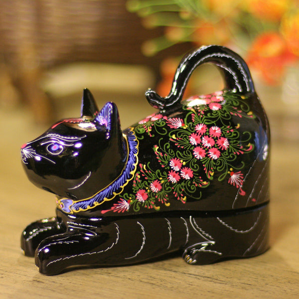 NOVICA - Decorative Hand Painted Mango Wood Lacquered Box, Black With Pink Flowers, 'Kitty Cat Happiness'