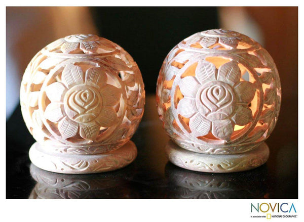 NOVICA - Carved Soapstone 'Sunflowers' Candle Holder