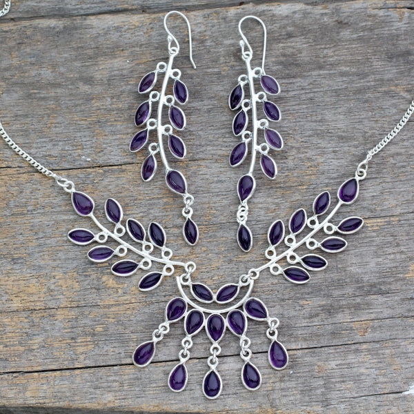 NOVICA - Silver & Amethyst 'Falling Leaves' Jewelry Set