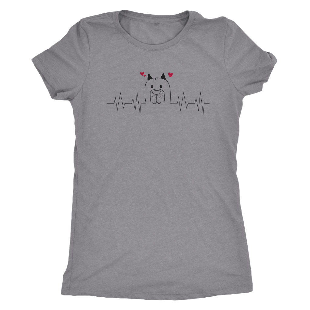 T-shirt - Dog Heartbeat Triblend Fitted Tee