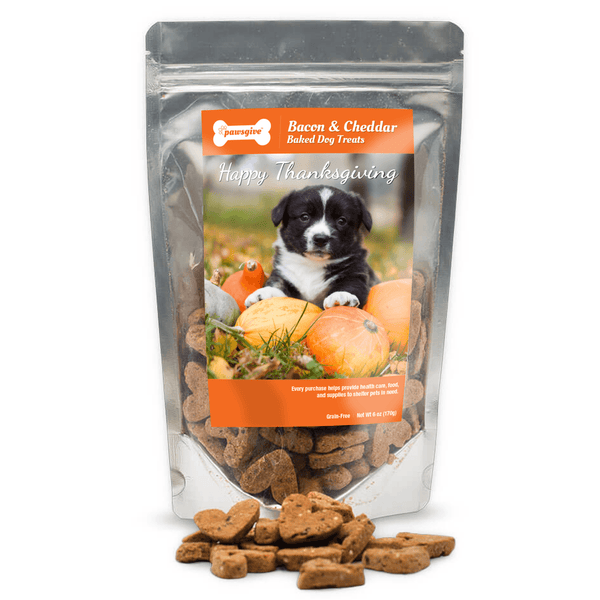 PawsGive - Crunchy Gluten Free Bacon & Cheese Thanksgiving Dog Treats