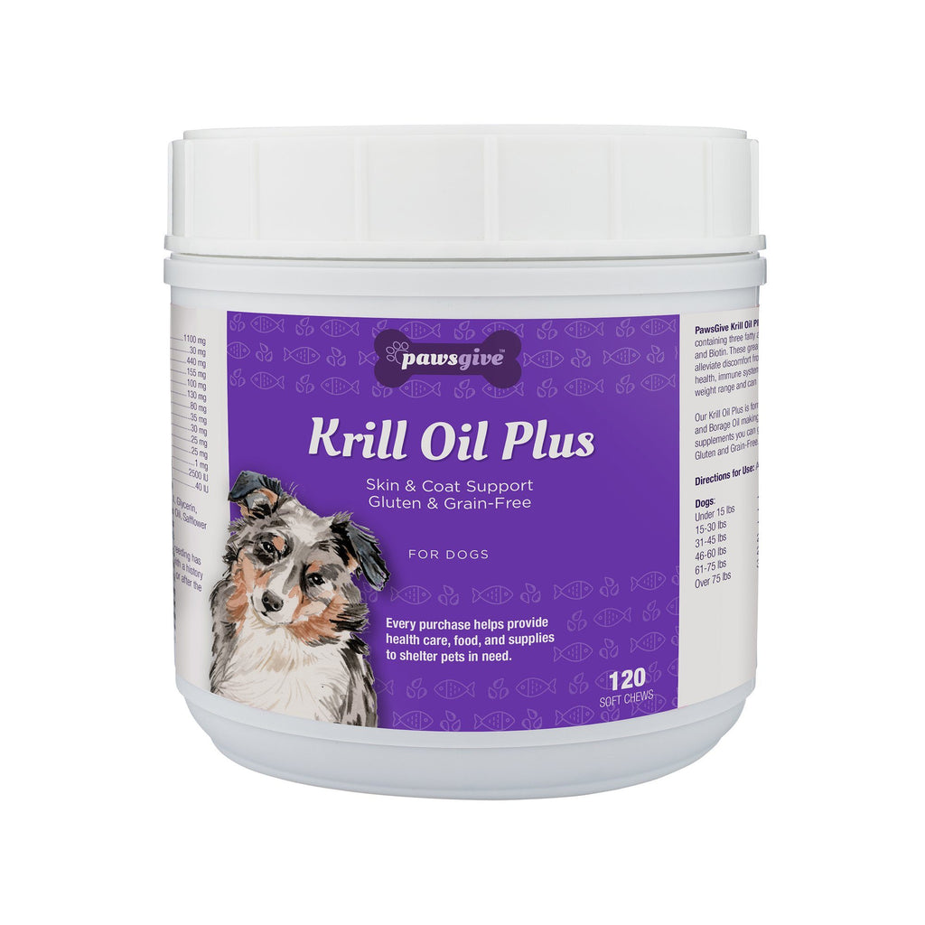 PawsGive - PawsGive Krill Oil Plus Omega 3-6-9 Skin And Coat Chews For Dogs, 120 Soft Chews