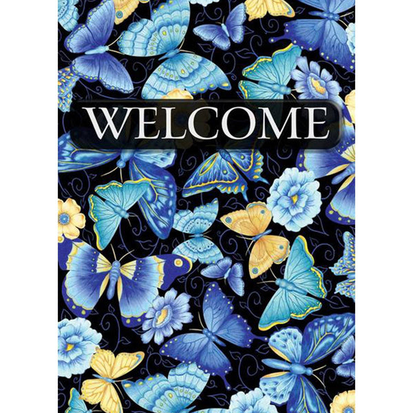 Toland Home Garden - Blue Butterfly Welcome Garden Flag