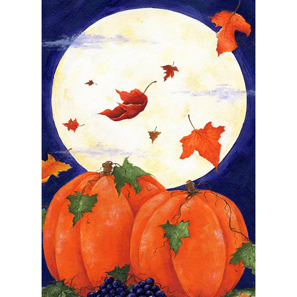 Toland Home Garden - Pumpkin & Moon Garden Flag