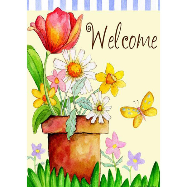 Toland Home Garden - Potted Welcome Garden Flag