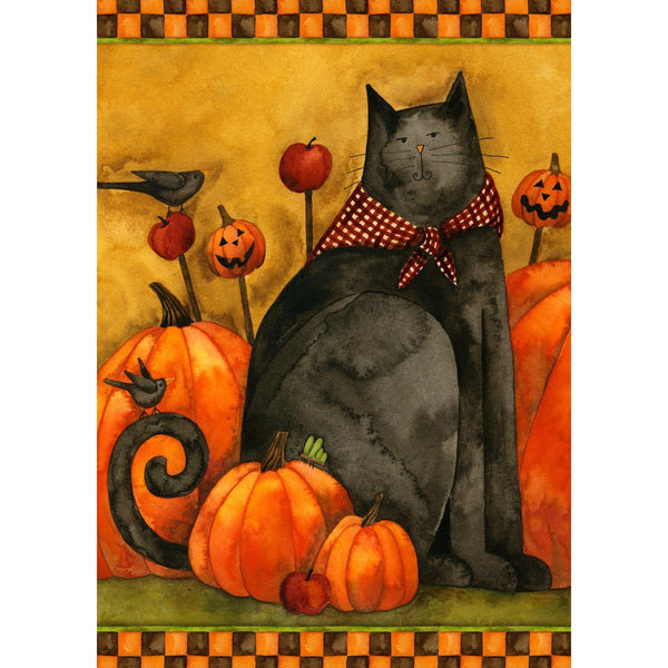 Toland Home Garden - Folk Cat & Pumpkins Garden Flag