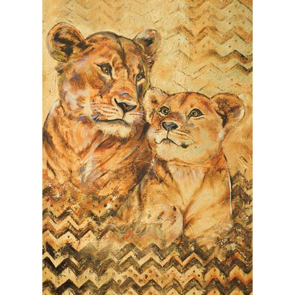 Toland Home Garden - Hand Painted Lioness And Cub Garden Flag