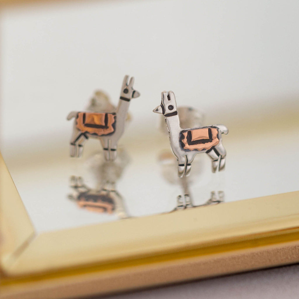 Llama Mixed Metal Post Earrings