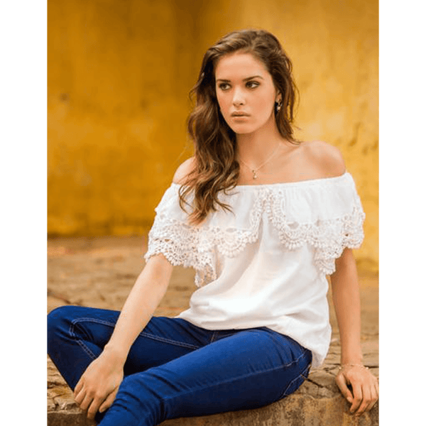 NOVICA - Handcrafted White Cotton & Lace Blouse