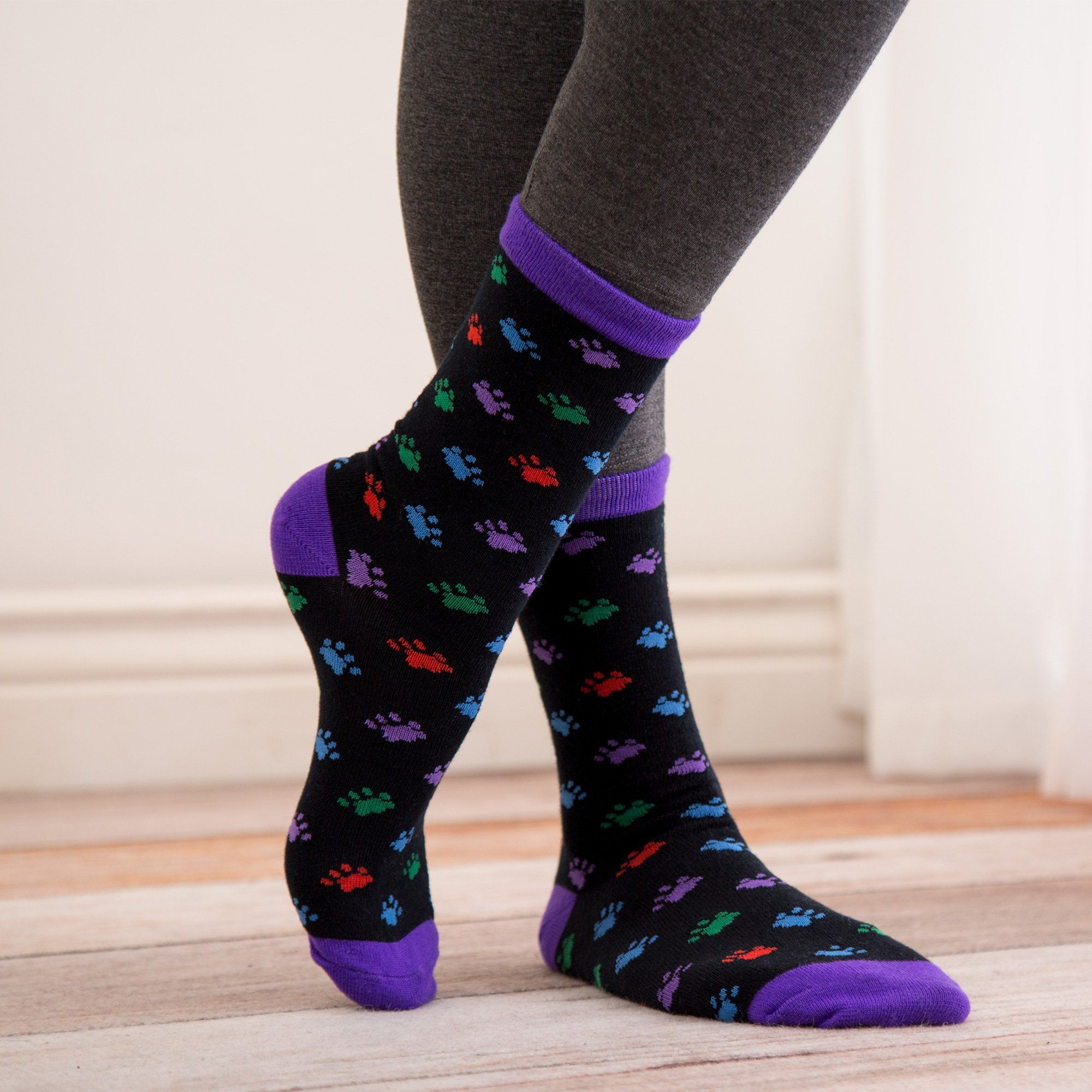 $3.99 - All Over Paw Multicolor Socks