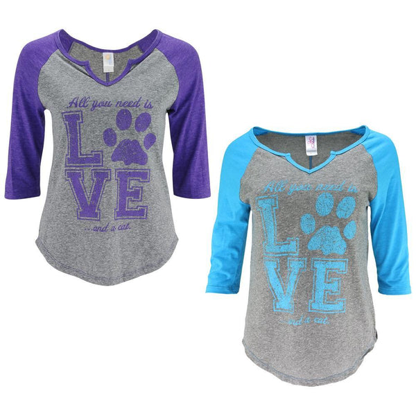 All You Need Is Love & A Cat 3/4 Sleeve Baseball Tee