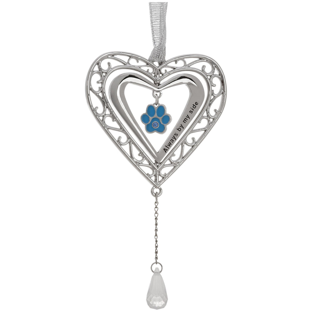 Always By My Side Paw Print Birthstone Ornament