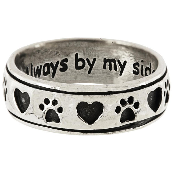Always By My Side Paw Sterling Ring