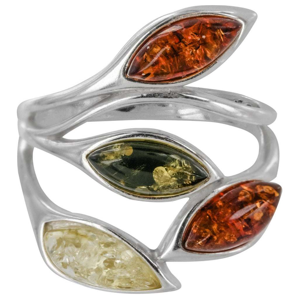 Amber Leaves & Sterling Ring