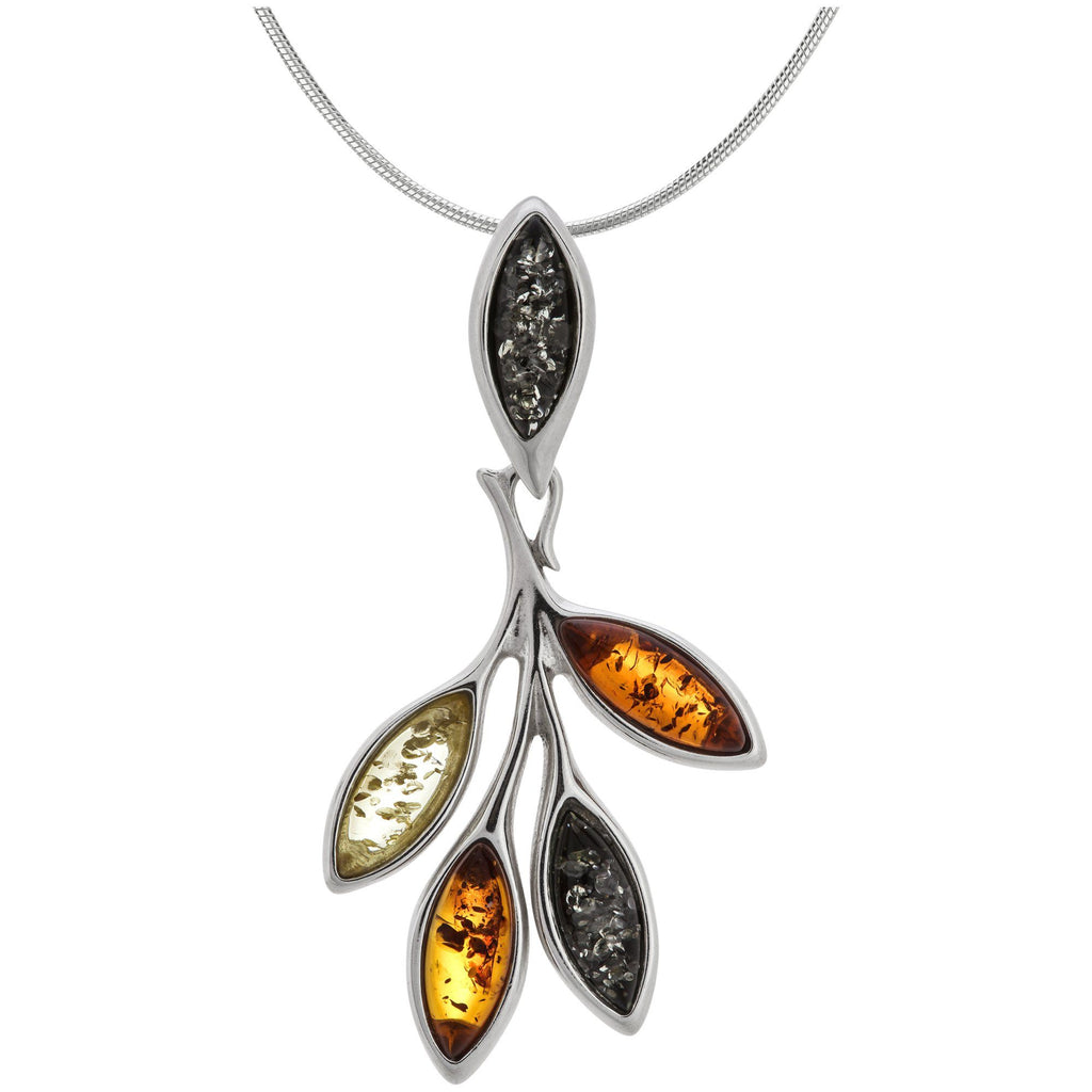 Amber Multicolor Leaves & Sterling Necklace