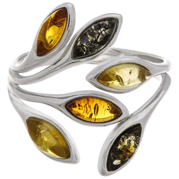 Amber Multicolor Leaves & Sterling Ring