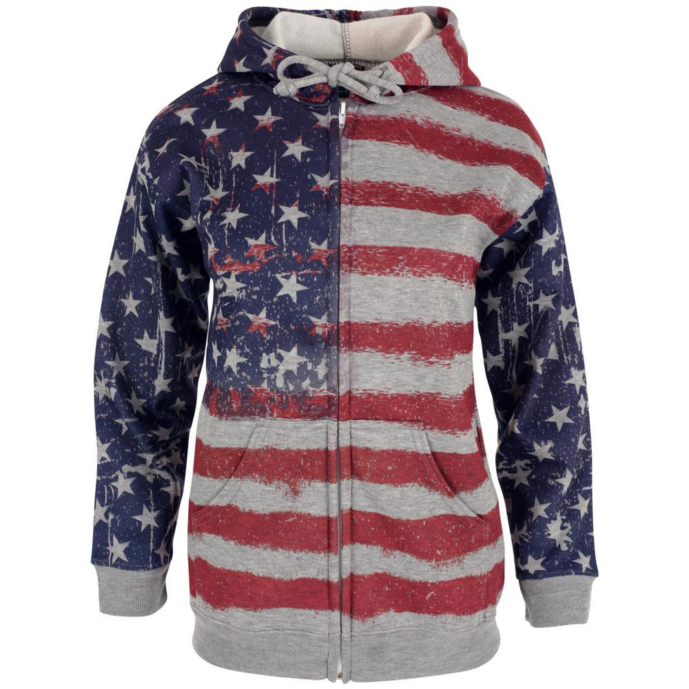 American Flag Distressed Zip Hoodie