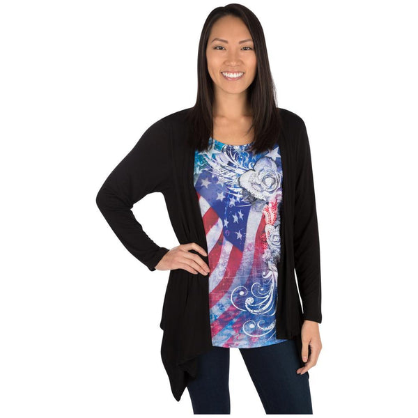 American Flag Roses Cardigan Top