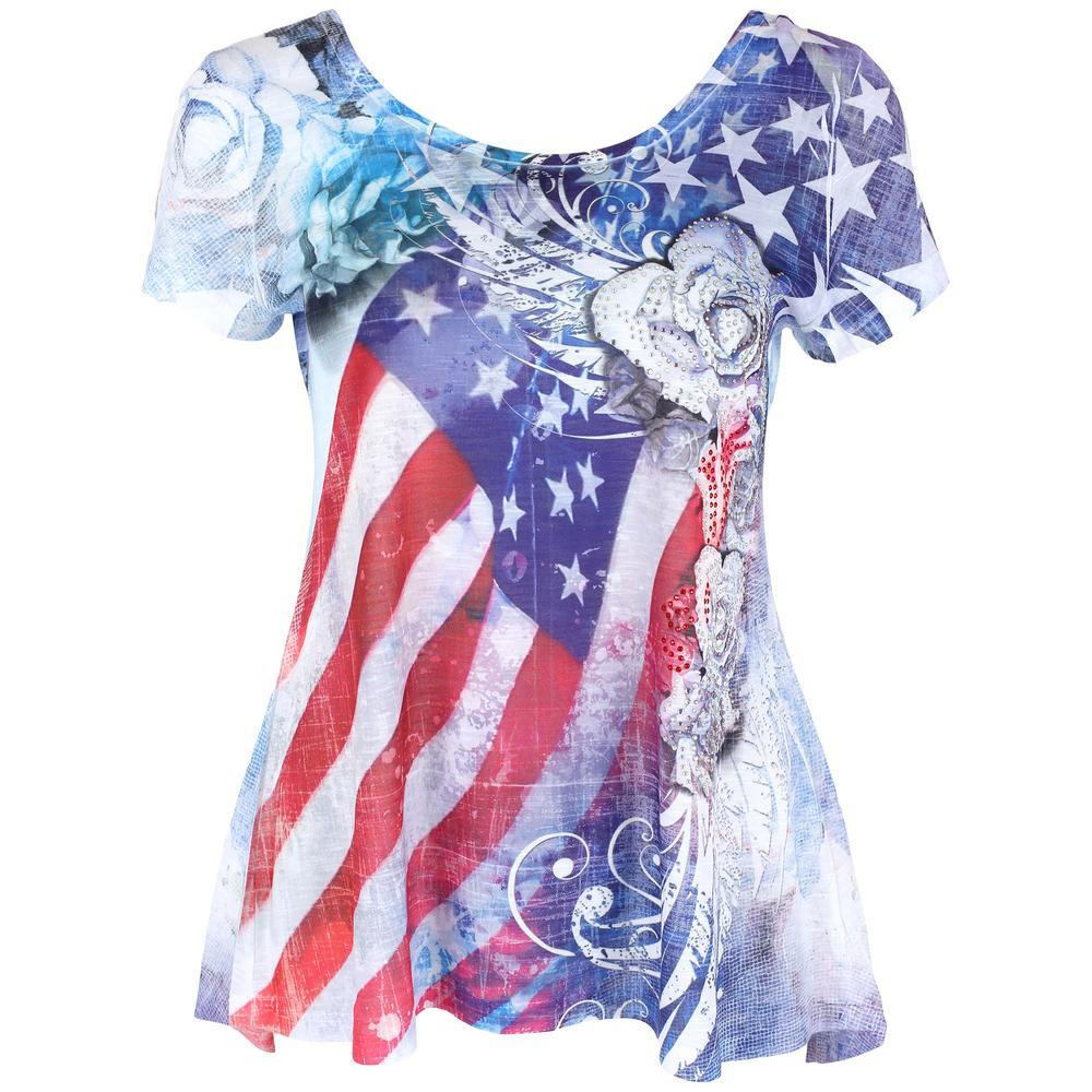 American Flag Roses High-Low Tee