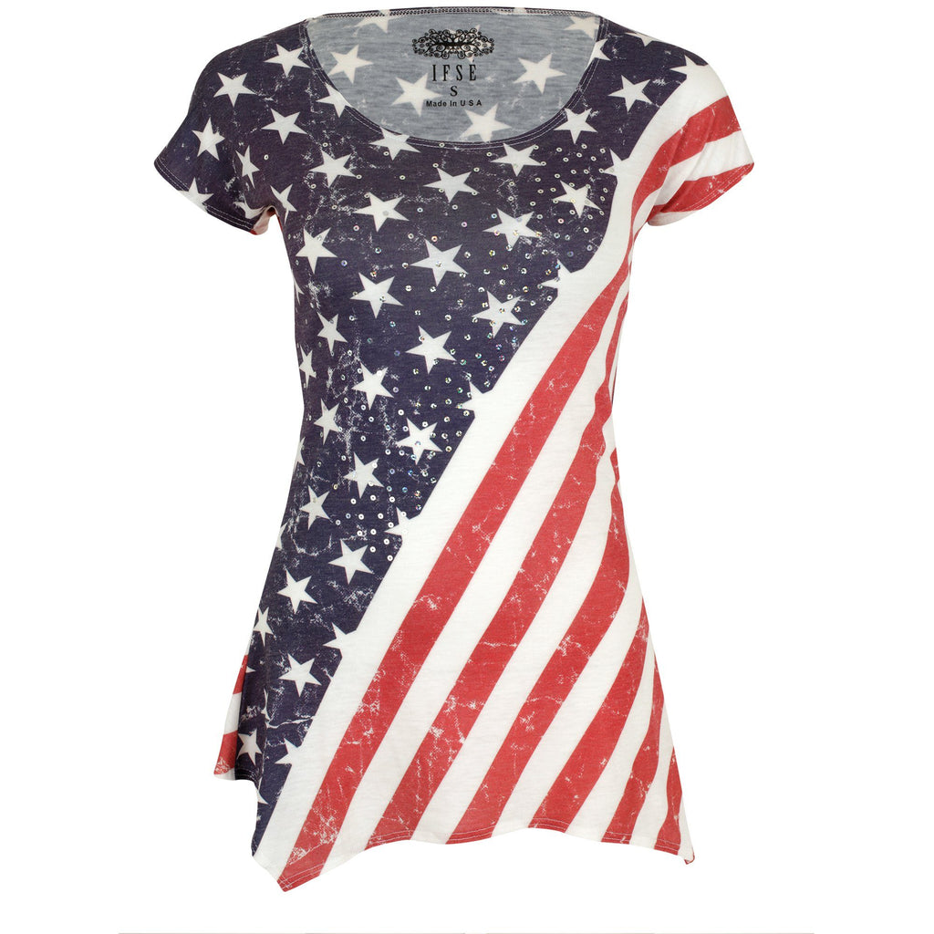 American Flag Sequin Tee