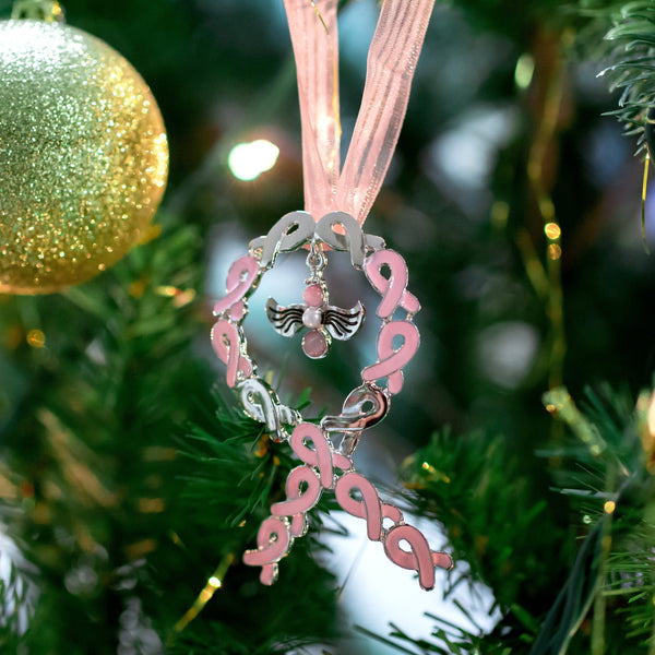 Angel Of Faith Pink Ribbon Ornament