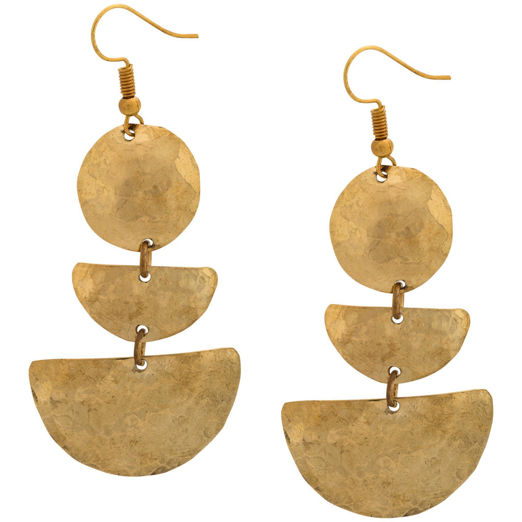 Asante Hammered Brass Earrings