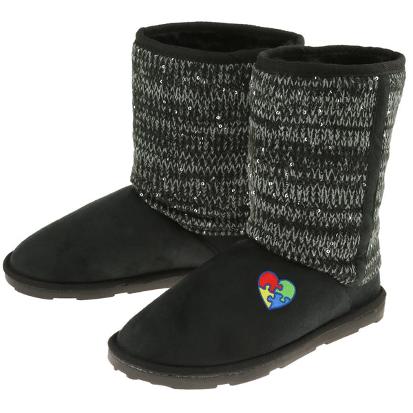 Autism Awareness Mid Rise Sparkle Knit Boots