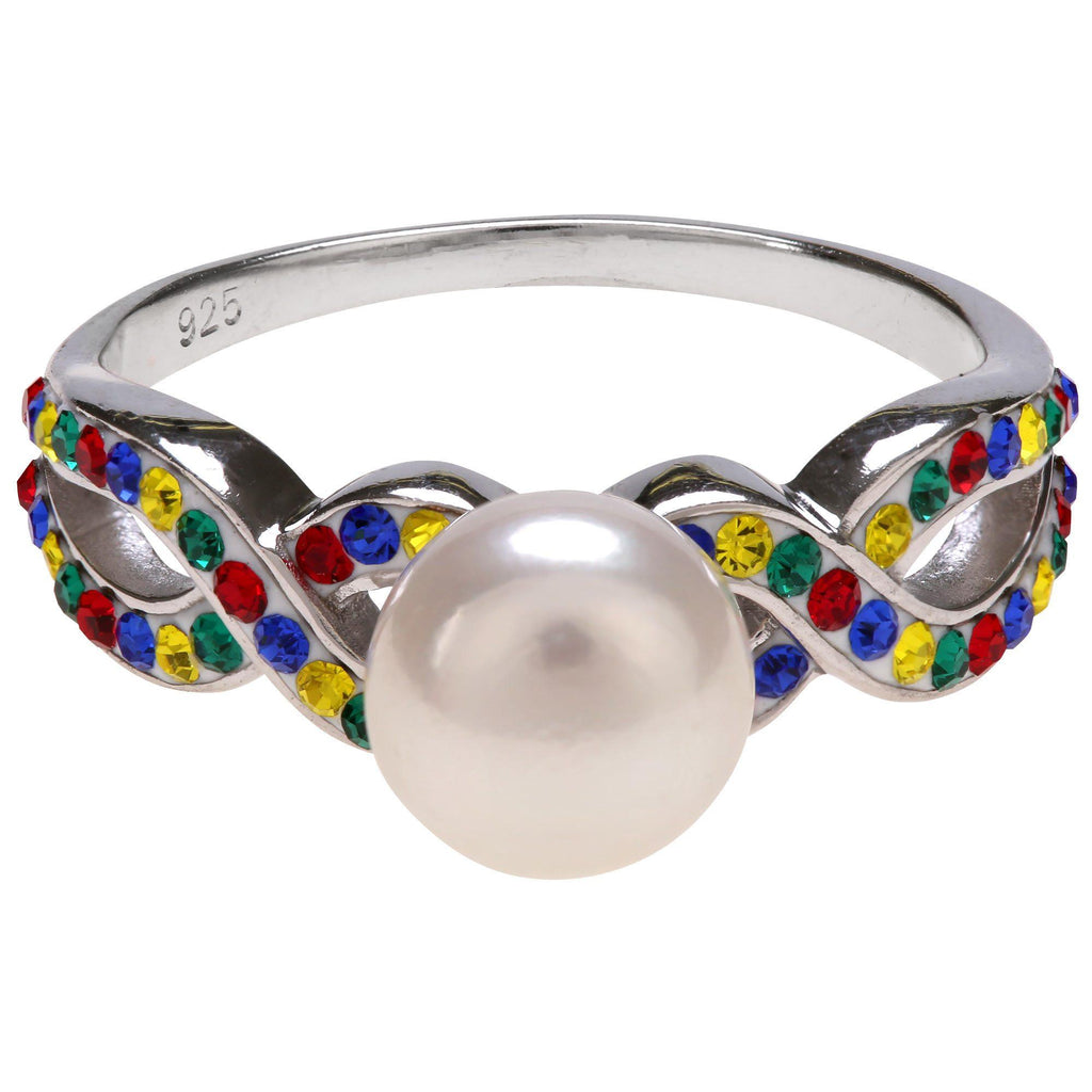 Autism Ribbon Pearl & Sterling Ring